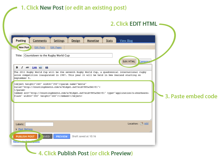 Blogger embed code